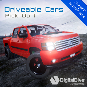 GTA style driveable pick up truck for Unreal Engine 4, with four LOD levels and unique properties. VR compatible