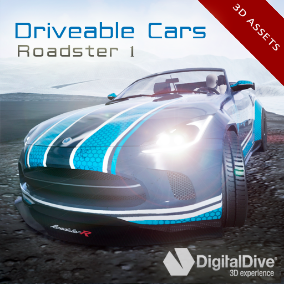 A detailed Roadster Car, with 4 LODs and fully rigged (only 3D assets, no Blueprints)