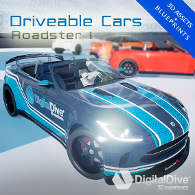 GTA style driveable roadster car for Unreal Engine 4, with four LOD levels and unique properties. VR compatible