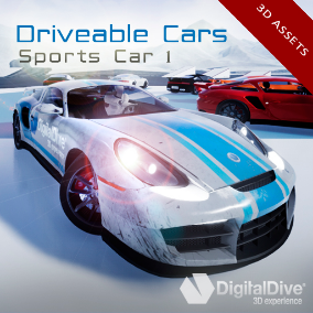 A detailed Sports Car, with 4 LODs and fully rigged (only 3D assets, no Blueprints)
