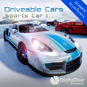 GTA style driveable sports car for Unreal Engine 4, with four LOD levels and unique properties. VR compatible