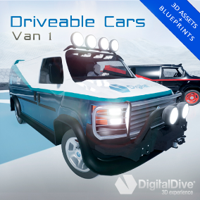 GTA style driveable van for Unreal Engine 4, with four LOD levels and unique properties. VR compatible