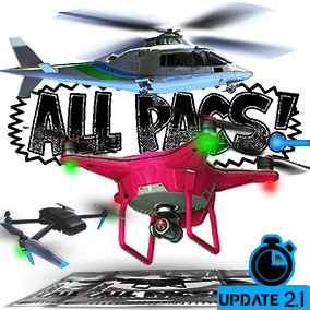 This pack provides a set of customizable drones based on popular consumer models, with arcade-style controls inc animations, multiple camera perspectives, multiplayer and VR support, an object pickup system, and time attack mini-game. Quadcopter. ALLPACS