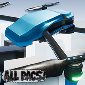 Drone Kit Flying Pack provides a customizable drone mesh and blueprint with arcade-style controls that includes animations, multiple camera perspectives, multiplayer and VR support, and an object pickup system.