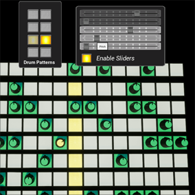 This project is a drum machine template with added effects for developers interested in music production and synchronizing visual effects to music.