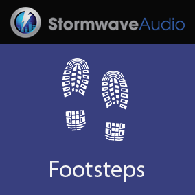 A set of 50 single footsteps recorded on dry grass and leaves.