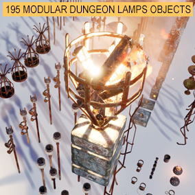 195 modular objects and preassembled dungeon lamps torches and light fixtures
