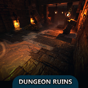 Dungeon Ruins package contains modular pieces to easily construct a dungeon environment.