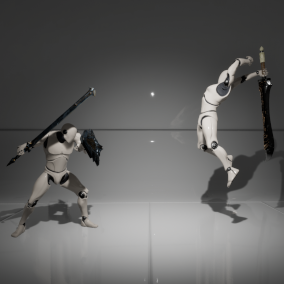 Easily modifiable combat system implemented entirely in blueprints.