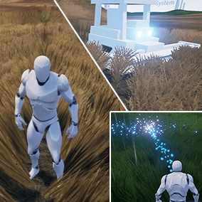 Easily add dynamic behavior to any grass mesh. Use it with UE foliage tool or spawn it dynamically in game. Shockwaves, bending, deforming, removing and more effects included by default.