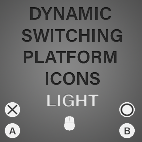 A set of PC, Xbox One and PS4 Icons in a minimalist Light Theme, with a dynamic switching system for currently active device.