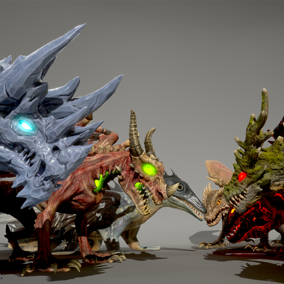 This pack includes a set of 7 awesome dragons to populate your heroic fantasy project.