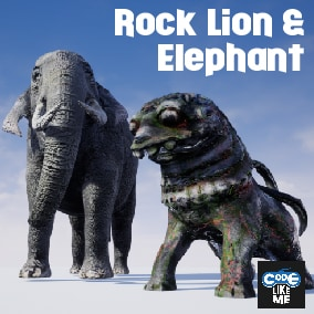 Animated Game ready Elephant And Rock Lion