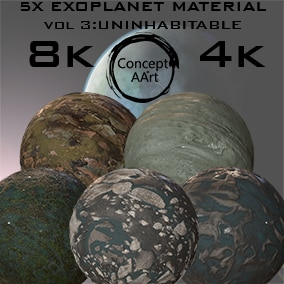 5 Super Realistic Exoplanet Materials for all platforms. All Textures have their own 8K,4K,2K and 1K version and ready for every kind of project.