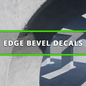 The Edge Bevel Decals package allows environment artists to apply specially designed decals to mesh edges and give them a beveled appearance. They add additional detail to BSP brushes, urban environments, and interiors built using modular meshes.