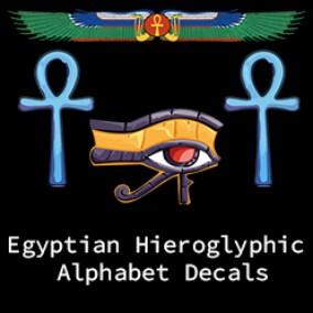 Egyptian hieroglyphic alphabet and symbols