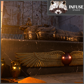 Ancient Egyptian Temple with treasure room with Sarcophagus and modular building meshes. Infuse Studio.