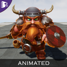 Animated viking concept fantasy character.