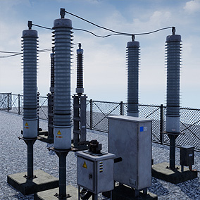 Highly detailed Substation faithfully recreated from photo reference of real substation
