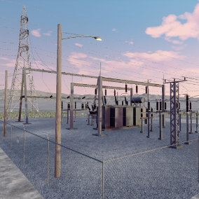 Scripted utility poles, transmission towers, and substation props