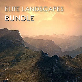 Complete Elite Landscapes pack features 23 landscapes with 8k resolution and 7 matte painting quality sky panoramas.