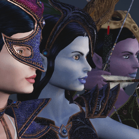 3 beautiful female elf characters. Characters is perfect for a first person or 3rd person adventure game.  May act as warrior, archer, wizard, rogue, scout...