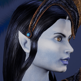 Low polygonal game ready animated model of beautiful elf woman.