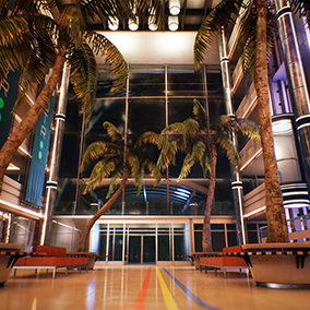 The environment consists of the interior and exterior parts, modular system. The building contains 5 different floors, elevators, corridors, and a hall. There is also a modular road and the ground adjoining to the building.