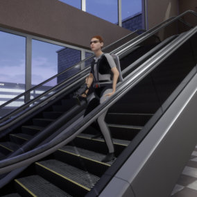 A set of escalators and stairs in an assortment of heights and styles