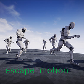These are the motions of people escaping. Various pattern of movements are available. By combining these patterns, various series of motions can be animated.