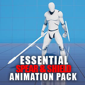 This package includes essential animations for a character with spear & shield combat style, with a playable character blueprint. Recommended for an action RPG game.