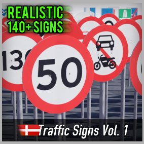Optimized and game-ready asset pack with over 140 Danish Road Signs. Perfect for your realistic game.