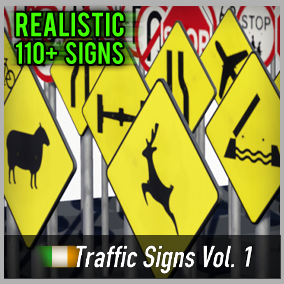 Optimized and game-ready asset pack with over 110 Irish Road Signs. Perfect for your realistic game.