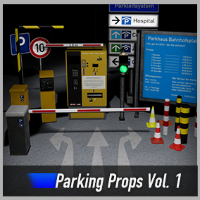 Optimized and game-ready parking garage props asset pack with pylons, barriers, a traffic light and more. Create signs with blueprints.