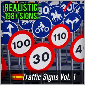 Optimized and game-ready asset pack with over 200 Spanish Road Signs. Perfect for your realistic game.