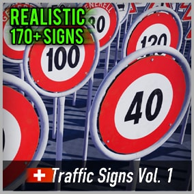 Optimized and game-ready asset pack with over 170 Swiss Road Signs. Perfect for your realistic game.
