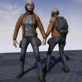 Casual style female character with backpack. Fully customizable in colours. Backpack can used as separate asset.