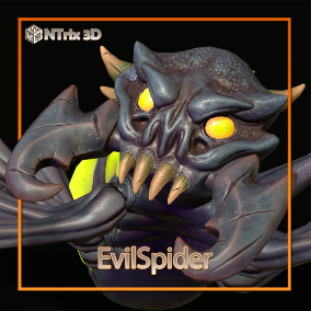 EvilSpider is a creature that is a poisonous spider. Can be a boss or a strong opponent. Riged and Animated.