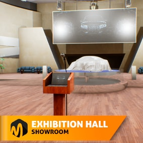 Exhibition hall - showroom- is a location that includes a building with an interior, necessary furniture for exhibition or conference.