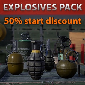Grenades, mines, military crates, bomb, molotov cocktail. Suitable for FPS games and close-up shots