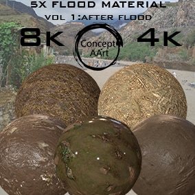 5 Super Realistic Flood Materials for all platforms. All Textures have their own 8K,4K,2K and 1K version and ready for every kind of project.