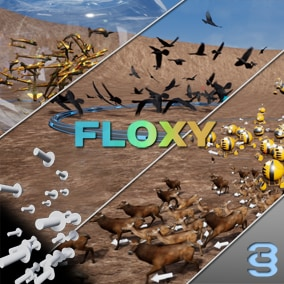 Floxy is an Emergent Vector Generator designed to simulate a variety of flocking behaviors using CPU calculated attraction and repulsion forces.
