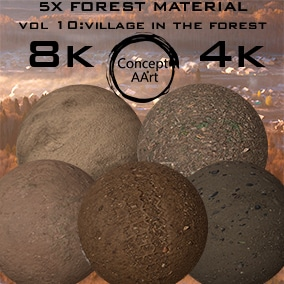 5 Super Realistic Forest/Village Materials for all platforms. All Textures have their own 8K,4K,2K and 1K version and ready for every kind of project.