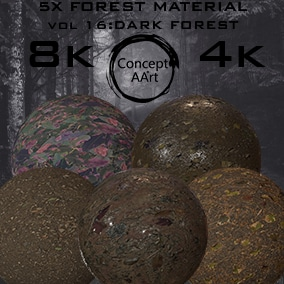 5 Super Realistic Dark Forest Materials for all platforms. All Textures have their own 8K,4K,2K and 1K version and ready for every kind of project.