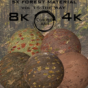 5 AAA Quality Forest Materials for all platforms. All Textures have their own 8K,4K,2K and 1K version and ready for every kind of project.