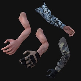 AAA FPS Arms 4-pack: Rigged & animated , 4K textures & LODs