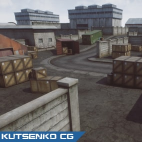 A set of models with editable demo map for fast creating FPS game map for mobile and PC