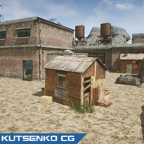 Set of models with editable demo map for fast creating FPS game map for mobile and PC
