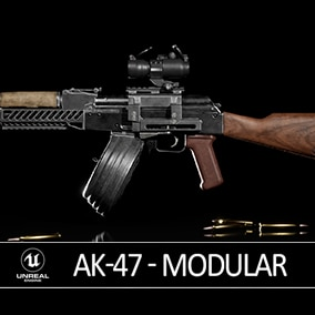 A modular and game-ready AK-47 rifle with scope that can be customized for your FPS project.