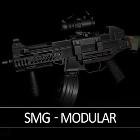 A modular and game-ready SMG (submachine gun) & scope that can be customized for your FPS project.